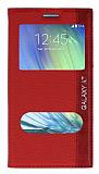 Samsung Galaxy A7 Gizli Mıknatıslı Çift Pencereli Kırmızı Kılıf