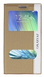 Samsung Galaxy A7 Gizli Mıknatıslı Çift Pencereli Gold Kılıf