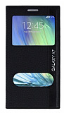 Samsung Galaxy A7 Gizli Mıknatıslı Çift Pencereli Siyah Kılıf