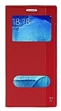 Samsung Galaxy A8 Gizli Mıknatıslı Çift Pencereli Kırmızı Deri Kılıf