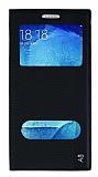 Samsung Galaxy A8 Gizli Mıknatıslı Çift Pencereli Siyah Deri Kılıf