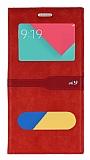 Samsung Galaxy A9 Gizli Mıknatıslı Çift Pencereli Kırmızı Deri Kılıf