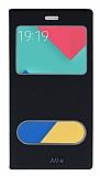 Eiroo Samsung Galaxy A9 Gizli Mıknatıslı Çift Pencereli Siyah Deri Kılıf