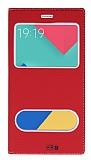 Eiroo Samsung Galaxy A9 Gizli Mıknatıslı Çift Pencereli Kırmızı Deri Kılıf