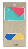 Eiroo Samsung Galaxy A9 Gizli Mıknatıslı Çift Pencereli Gold Deri Kılıf
