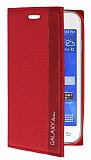 Samsung Galaxy Ace 4 Gizli Mıknatıslı İnce Yan Kapaklı Kırmızı Deri Kılıf
