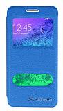 Eiroo Samsung Galaxy Alpha Vantuzlu Pencereli Mavi Deri Kılıf