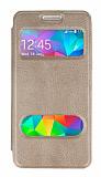 Eiroo Samsung Galaxy Grand Prime/ Prime Plus Vantuzlu Pencereli Gold Deri Kılıf