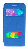 Eiroo Samsung Galaxy Grand Prime / Prime Plus Vantuzlu Pencereli Mavi Deri Kılıf