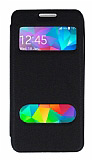 Eiroo Samsung Galaxy Prime / Prime Plus Vantuzlu Pencereli Siyah Deri Kılıf