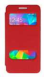 Eiroo Samsung Galaxy Grand Prime / Prime Plus Vantuzlu Pencereli Kırmızı Deri Kılıf