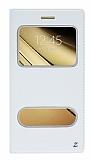 Eiroo Samsung Galaxy C5 Gizli Mıknatıslı Pencereli Beyaz Deri Kılıf