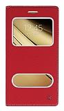 Eiroo Samsung Galaxy C5 Gizli Mıknatıslı Pencereli Kırmızı Deri Kılıf