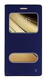 Samsung Galaxy C5 Gizli Mıknatıslı Çerçeveli Lacivert Deri Kılıf
