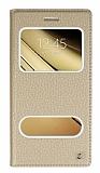 Eiroo Samsung Galaxy C5 Gizli Mıknatıslı Pencereli Gold Deri Kılıf