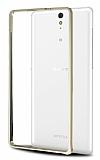 Eiroo Sony Xperia C5 Ultra Gold Çizgili Metal Bumper Çerçeve Gold Kılıf