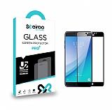 Eiroo Samsung Galaxy C5 Pro Tempered Glass Full Siyah Cam Ekran Koruyucu
