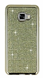 Eiroo Samsung Galaxy C5 Taşlı Gold Silikon Kılıf