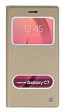 Eiroo Samsung Galaxy C7 SM-C7000 Gizli Mıknatıslı Pencereli Gold Deri Kılıf