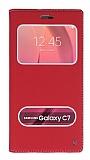 Eiroo Samsung Galaxy C7 SM-C7000 Gizli Mıknatıslı Pencereli Kırmızı Deri Kılıf
