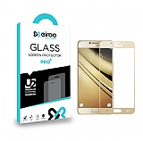 Eiroo Samsung Galaxy C7 Pro Curve Tempered Glass Full Gold Cam Ekran Koruyucu