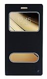 Samsung Galaxy C7 SM-C7000 Gizli Mıknatıslı Çift Çerçeveli Siyah Deri Kılıf