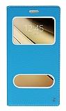 Samsung Galaxy C7 SM-C7000 Gizli Mıknatıslı Çift Çerçeveli Mavi Deri Kılıf