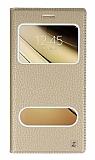 Samsung Galaxy C7 SM-C7000 Gizli Mıknatıslı Çift Çerçeveli Gold Deri Kılıf