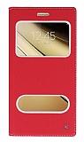 Samsung Galaxy C7 SM-C7000 Gizli Mıknatıslı Çift Çerçeveli Kırmızı Deri Kılıf