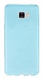 Samsung Galaxy C7 SM-C7000 Ultra İnce Şeffaf Mavi Silikon Kılıf