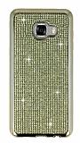 Eiroo Samsung Galaxy C7 SM-C7000 Taşlı Gold Silikon Kılıf