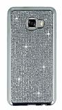 Eiroo Samsung Galaxy C7 SM-C7000 Taşlı Silver Silikon Kılıf