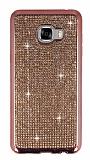 Eiroo Samsung Galaxy C7 SM-C7000 Taşlı Rose Gold Silikon Kılıf