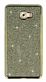 Eiroo Samsung Galaxy C9 Pro Taşlı Gold Silikon Kılıf