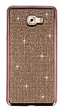 Eiroo Samsung Galaxy C9 Pro Taşlı Rose Gold Silikon Kılıf
