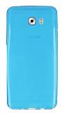 Samsung Galaxy C9 Pro Ultra İnce Şeffaf Mavi Silikon Kılıf