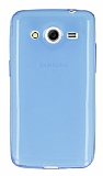 Samsung Galaxy Core 2 Ultra İnce Şeffaf Mavi Silikon Kılıf