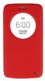 Eiroo LG G3 S / G3 Beat Vantuzlu Pencereli Kırmızı Deri Kılıf