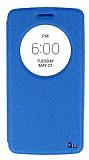 Eiroo LG G3 S / G3 Beat Vantuzlu Pencereli Mavi Deri Kılıf