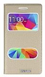 Eiroo Samsung Galaxy Core Prime Gizli Mıknatıslı Çift Pencereli Gold Deri Kılıf