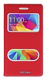 Eiroo Samsung Galaxy Core Prime Gizli Mıknatıslı Çift Pencereli Kırmızı Deri Kılıf