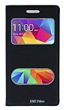 Eiroo Samsung Galaxy Core Prime Gizli Mıknatıslı Çift Pencereli Siyah Deri Kılıf