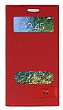 Samsung Galaxy E5 Gizli Mıknatıslı Çift Pencereli Kırmızı Kılıf
