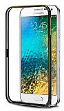Eiroo Samsung Galaxy E5 Gold Çizgili Round Metal Bumper Çerçeve Siyah Kılıf