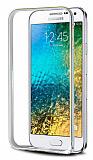Eiroo Samsung Galaxy E5 Gold Çizgili Round Metal Bumper Çerçeve Silver Kılıf