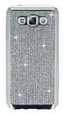 Eiroo Samsung Galaxy E5 Taşlı Silver Silikon Kılıf