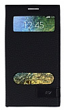 Samsung Galaxy E7 Gizli Mıknatıslı Çift Pencereli Siyah Kılıf