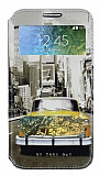 Samsung Galaxy E7 Gizli Mıknatıslı Pencereli Sarı Taksi Deri Kılıf