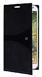 Samsung Galaxy E7 Gizli Mıknatıslı Siyah Deri Kılıf