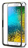 Eiroo Samsung Galaxy E7 Gold Çizgili Round Metal Bumper Çerçeve Siyah Kılıf